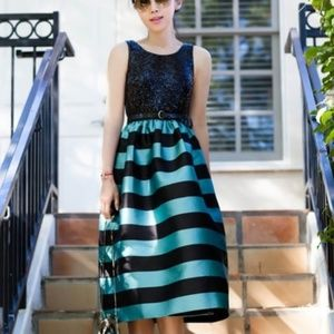 Anthropologie Holiday Silk Striped Dress